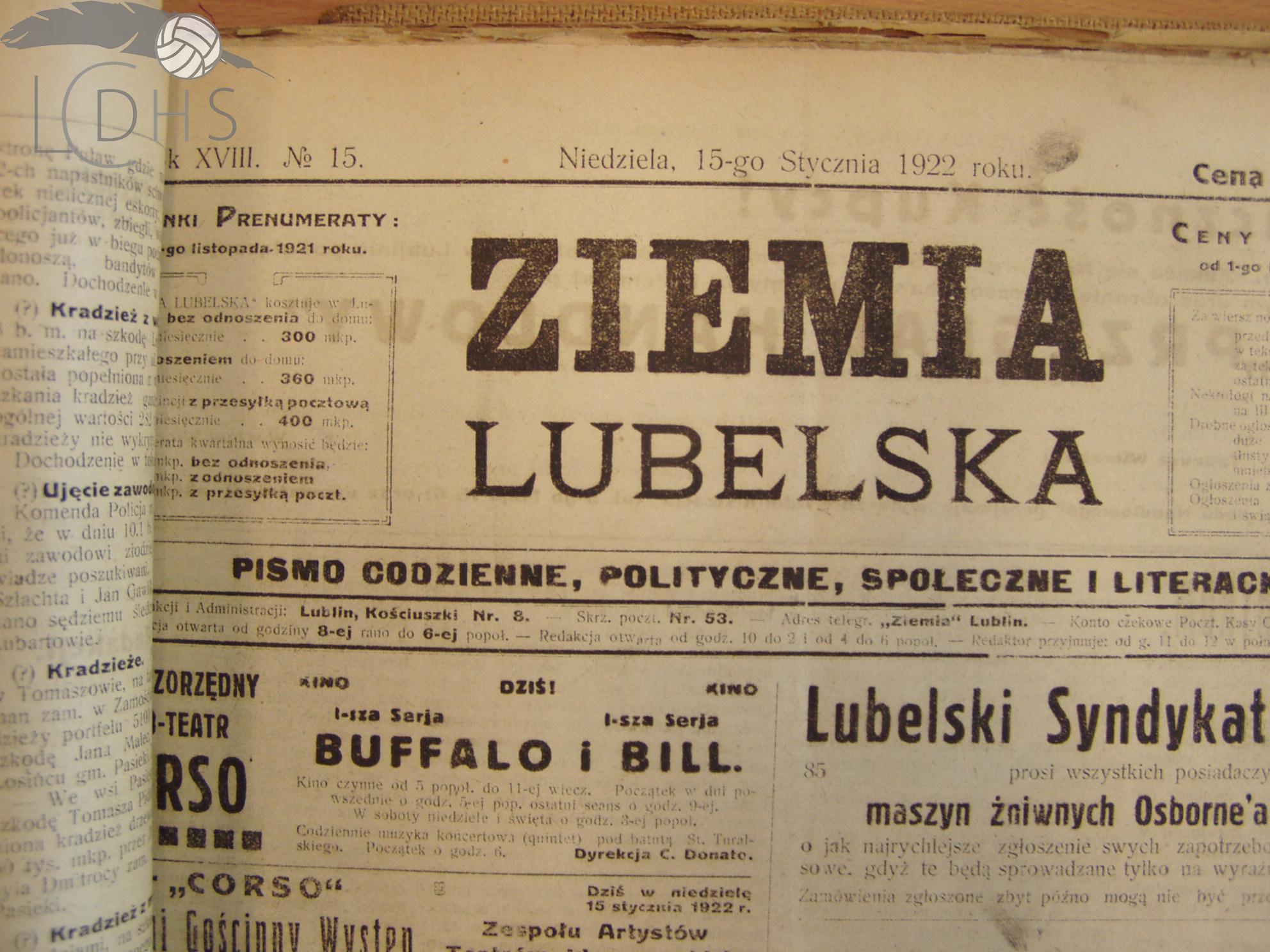 Ziemia Lubelska 15 I 1922