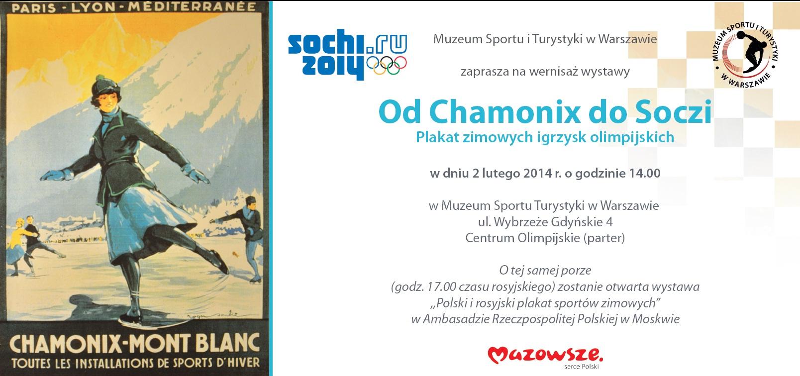 """Zaproszenie na wystawę """"Od Chamonix do Soczi. Plakat zimowych igrzysk olimpijskich"""""""