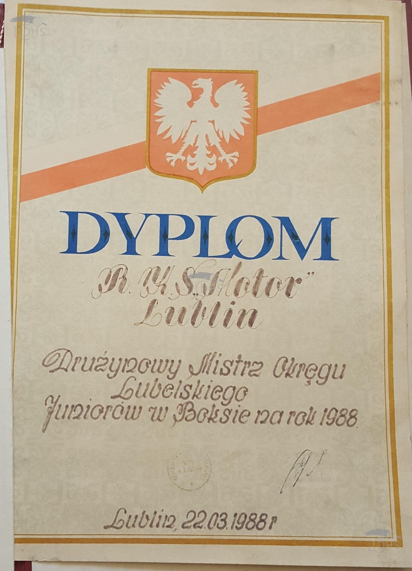 Pamiątki Motoru Lublin – dyplomy