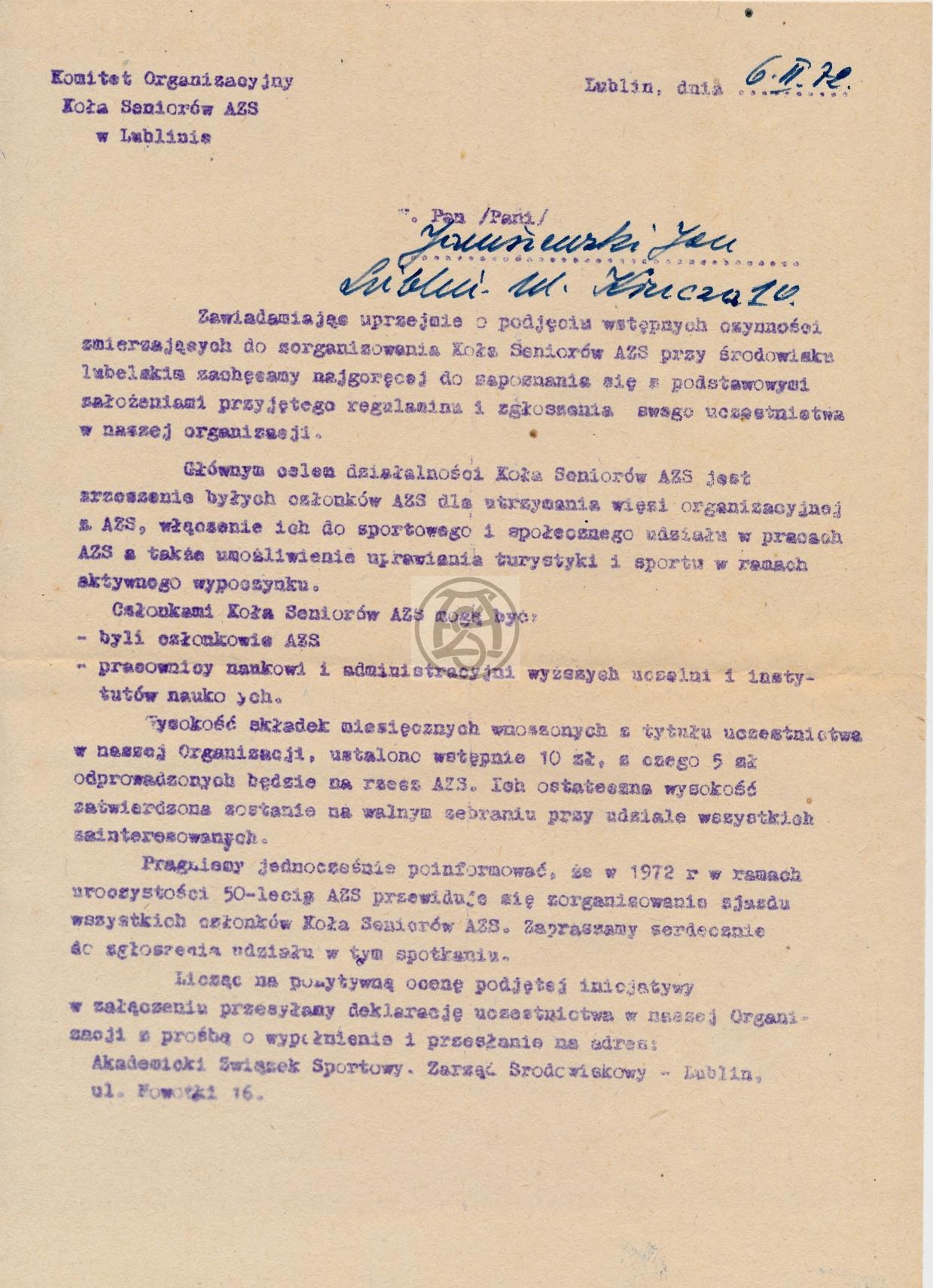 Zawiadomienie o powstaniu koła seniorów AZS w Lublinie