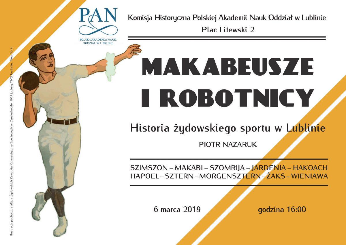 """Wykład: """"Makabeusze i robotnicy. Historia żydowskiego sportu w Lublinie"""""""